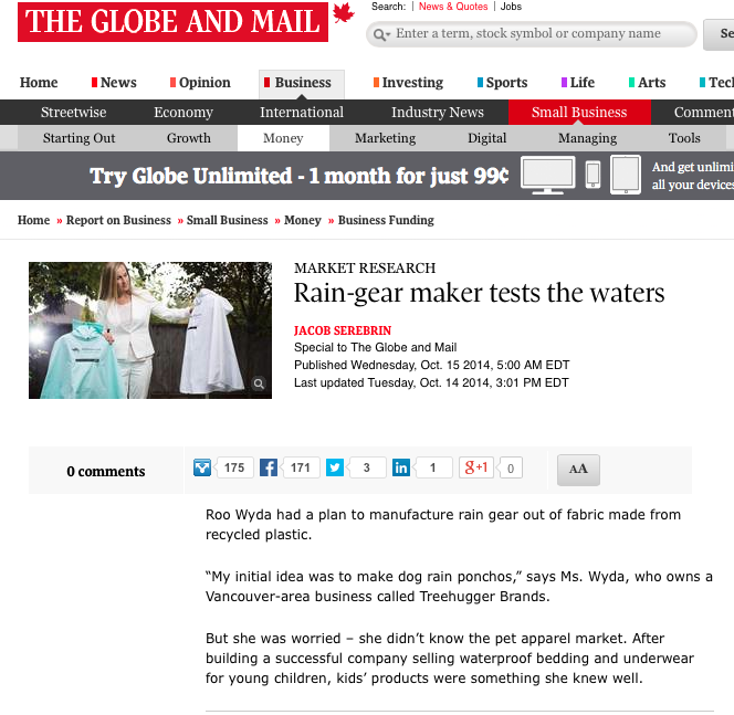 Roo Rain Gear in the Globe and Mail