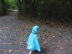 Toddler wearing Roo Rain Gear RPET poncho on a hike