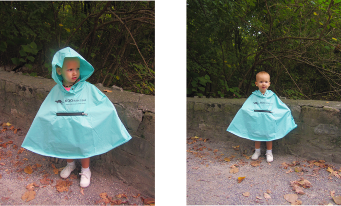 Toddler wearing Roo Rain Gear poncho with hood