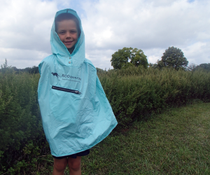 Boy wearing Roo Rain Gear on a hike in Stokes Park New Jerse
