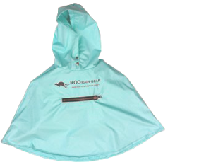 RPET sea foam blue waterproof poncho for kids, adults, and dogs