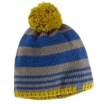 Blue, grey, and yellow toque, beanie. How to stay warm in the winter