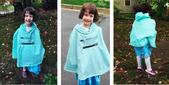 Roo Rain Gear RPET waterprof poncho. Kid friendly hike location