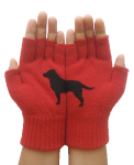 red winter gloves with cute dog on them. Roo Rain Gear, RPET, dog rain poncho
